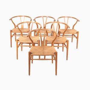 Chaises Wishbone en Chêne Patiné par Hans Wegner, 1960s, Set de 6