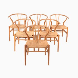 Wishbone Chairs in Patinated Oak by Hans Wegner, 1960s, Set of 6