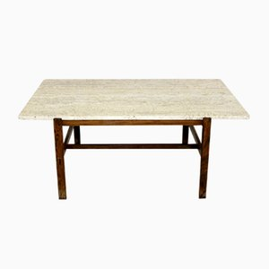 Swedish Rosewood and Travertine Coffee Table, 1950s
