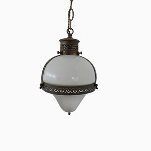 Antique Two Tone French Opaline Pendant Light