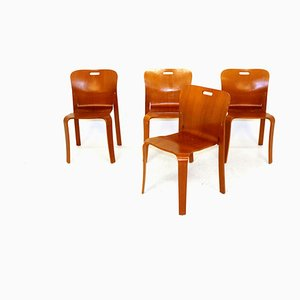Swedish Oak Dining Chairs by Jan Ekselius for JOC Vetlanda, 1980s, Set of 4