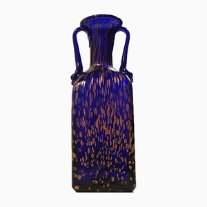 Blue Crystal Vase with Rose Gold Speckles from Joska, 1970s