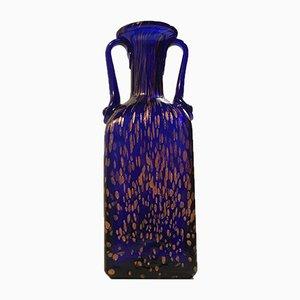 Vaso in cristallo blu con laccature in oro rosa di Joska, anni '70