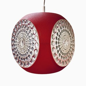 Vintage Colani UFO Ceiling Lamp in Red Plastic from Massive Lighting, 1970s