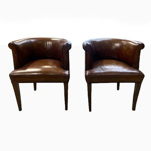 Sedia Art Deco in pelle morbida marrone con schienale arrotondato