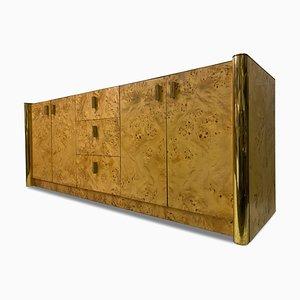 Italian Burl Wood And Brass Sideboard, 1970s