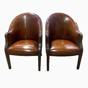 Art Deco Bridge Tub Chair in Leaf Brown Leather, Wooden Accent Arms & Stud Detailing