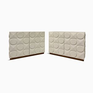 White Postmodern Style Cabinets, 1990s, Set of 2
