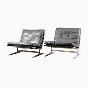Mid-Century Danish Leather Lounge Chairs by Preben Fabricius & Jørgen Kastholm for Boex, Set of 2