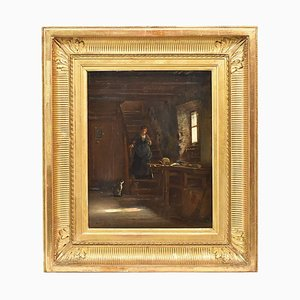 Antique French Painting, Oil Painting on Wood, 19th Century