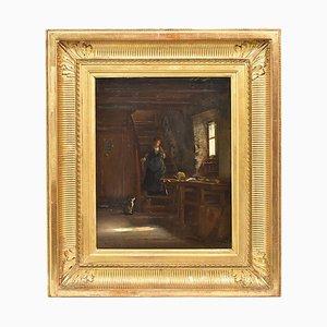 Pintura francesa antigua, pintura al óleo sobre madera, siglo XIX