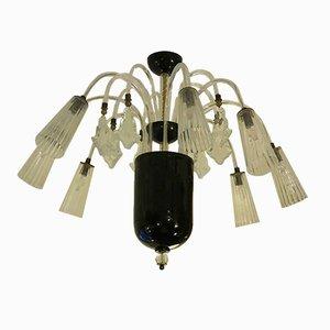 Lámpara de araña Art Decó de cristal de Murano de Barovier & Toso