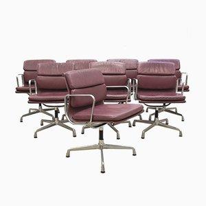 Aubergine EA208 Soft Pad Stühle von Charles & Ray Eames für Vitra, 2000er Jahre, 8er Set
