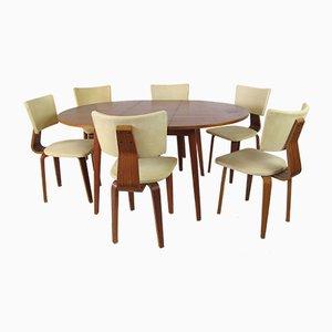 Chaises de Salle à Manger et Table à Rallonge Vintage Modernistes Mid-Century en Contreplaqué par Cor Alons pour Gouda den Boer, Set de 7
