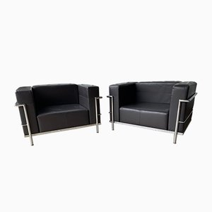 Mid-Century Style Leather & Chrome LC3 Cube Lounge Chairs from Le Corbusier, 1980s, Set of 2