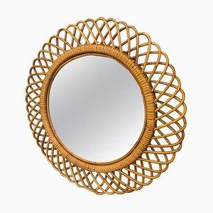 Italian Bamboo Wall Mirror, 1960s