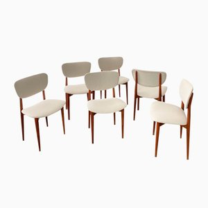Mid-Century Teak and Fabric Dining Chairs, Set of 6
