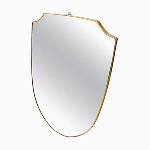 Brass Shield Wall Mirror, 1950s