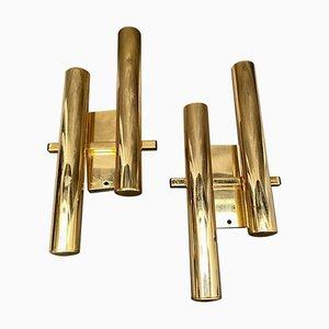 Applique moderne in ottone di Gaetano Sciolari, anni '60, set di 2