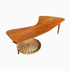 Tavolo sagomato in acero di Taichiro Nakai per La Permanente Mobili Cantù, anni '50