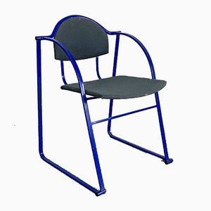 Chaise d'appoint en métal bleu postmoderne