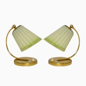 Table Lamps in Brass with Glass Shades, 1958, Set of 2