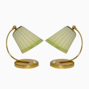 Tischlampen aus Messing mit Glasschirmen, 1958, 2er Set