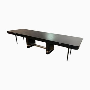 Large Art Deco Expandable Table in Black Lacquer and Metal, France, 1930s