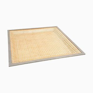 Large Square Lucite and Rattan Tray