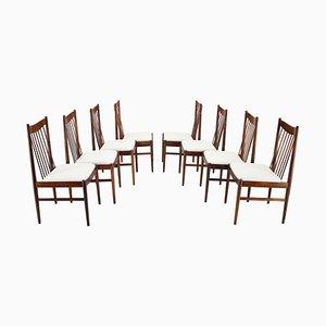 Sedie da pranzo in palissandro di Arne Vodder, anni '60, Danimarca, set di 8