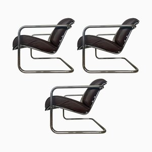 Chrome Armchairs in Style of M.van Der Rohe, 1940s, Set of 3
