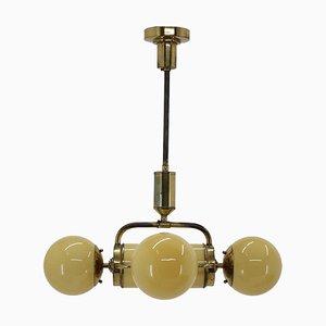 Large Bauhaus Brass Chandelier Pendant, 1930s