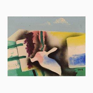 Hardy Strid, Modernist Composition, 1977, Acrylique sur toile