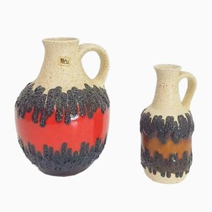 Vintage West German Fat Lava Can Vases from Bay, 1960s, Set of 2