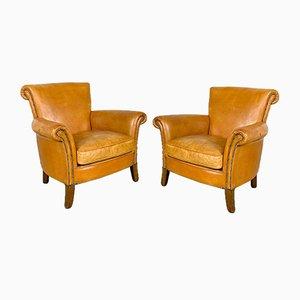 Vintage Cognacfarbene Leder Armlehnstühle aus Schafsleder, 2er Set
