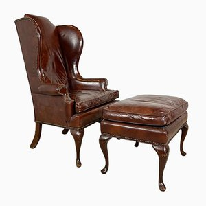 Vintage Queen Anne Style Leather Armchair with Ottoman, Set of 2