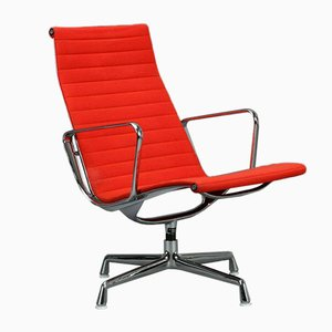 Orange Upholstered & Aluminum EA 116 Office Lounge Chair by Eames for Vitra
