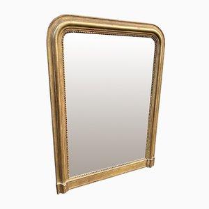 Antike französische Louis Philippe geschnitzte Holz & Gesso Original vergoldete gewölbte Spiegel, 19. Jahrhundert