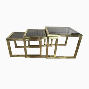Nesting Tables in Brass and Smoked Glass