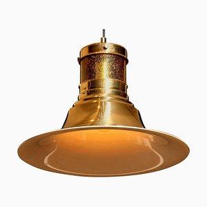 Brass and Glass Pendant Lamp by Börje Claes for Norelett, Sweden, 1970s