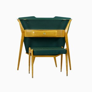Green Mid-Century Console Table with Stool