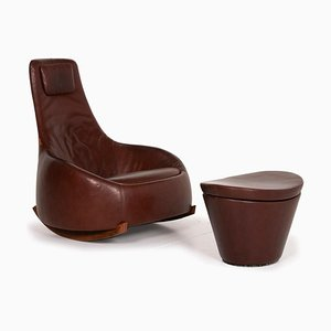 Brown Leather Dim Sums Rocking Chair & Stool with Storage Space from Montis, Set of 2