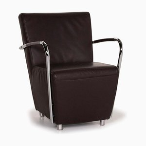 Goya Leather Armchair in Dark Brown & Metal from Koinor