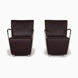Goya Dark Brown Leather & Metal Armchairs from Koinor, Set of 2