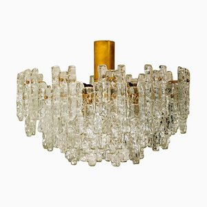 Large Glass Flush Mount Chandelier by J.T. Kalmar, 1960s