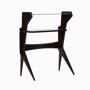 Italian Glass and Rosewood Console Table, 1950s