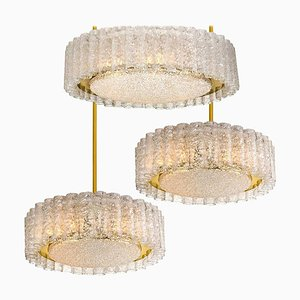 Glass & Brass Light Fixtures from Doria, 1970s, Set of 3