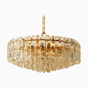 Large Palazzo Chandelier in Gilt Brass & Glass from Kalmar, Austria, 1970