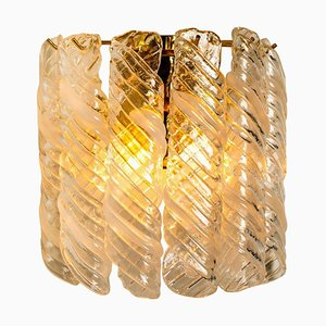 Brass & White Spiral Murano Glass Torciglione Wall Lights, 1960, Set of 2