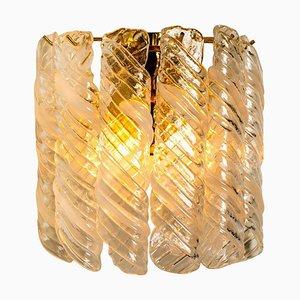Messing & Weiß Spirale Murano Glas Torciglione Wandleuchten, 1960, 2er-Set
